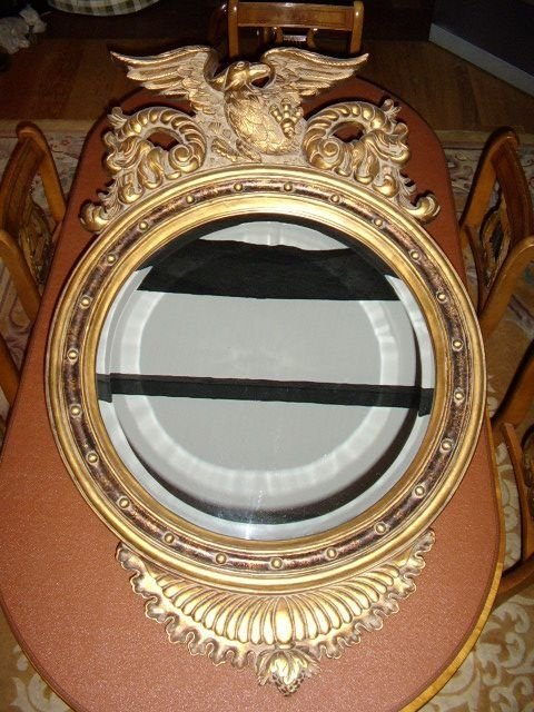 regencey style round beval cut eagle mirror in gilt finish 45 x 29 inches