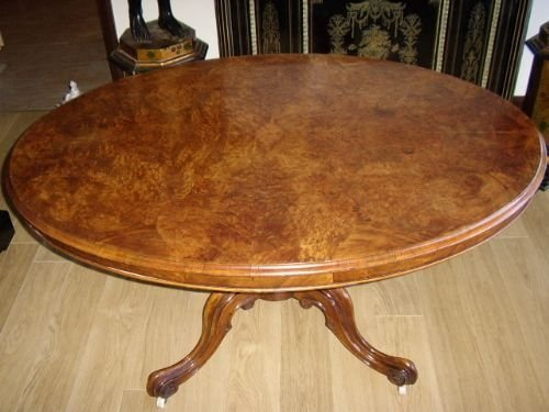 victorian burr walnut dining table with tilttop facility c1850 seats six people