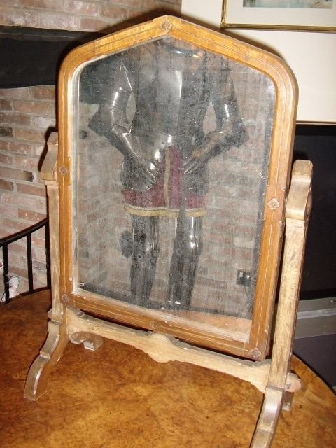 gothic heavy oak tilting table mirror on stand c1850