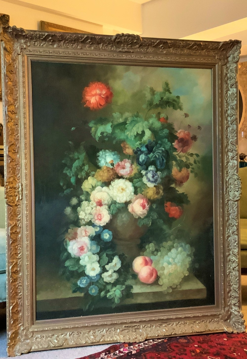 still life flowers fruit oil painting on canvas dutch manner