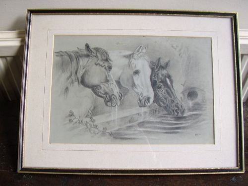 pencil drawing horses drinking after jfherring snrsigned pstafford
